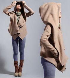 Women's Stylish Pure Color Long Sleeve Hooded Asymmetrical Jacket