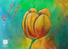 Flourish, Yellow Tulip, Feminine energies, power,  Acrylic Canvas Art,  Ready To Hang Art, Home Decor Wall Art