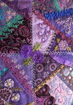 I ❤ crazy quilting & embroidery . . . beautiful, Lower Centre - Crazy patchwork wall quilt. 26 x 32 inches ~By marcie carr