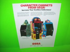 Sega CHARACTER CABINETS 1982 Original Video Arcade Game Promo Sales Flyer RARE #Sega #SegaArcade #ArcadeFlyers
