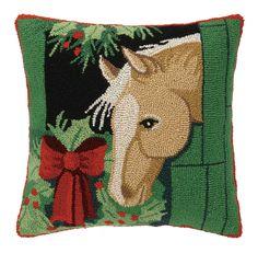 Horse Hook Wool Throw Pillow