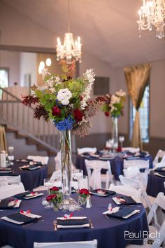 Red, white and blue themed centerpieces at Bella Via.  Images by Paul Rich Studio