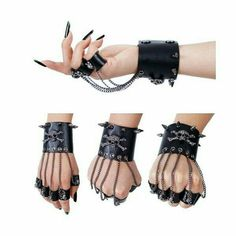 steampunk gothic leather bracelet with leather rings Punk Outfits, Gothic Outfits, Cosplay Outfits, Teen Fashion Outfits, Grunge Outfits, Emo Fashion, Gothic Fashion, Emo Mode, Mode Kpop
