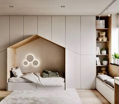 with Minimalist Kids bedroom with ample storage a quaint little bed and a window seating station. Kids Bedroom Designs, Kids Bedroom Sets, Kids Room Design, Cozy Bedroom, Bed Design, Modern Bedroom, Design Case, Bedroom Decor, Kids Bedroom Storage