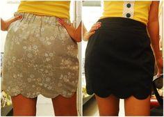 tutorial: how to sew a reversible scalloped hem skirt