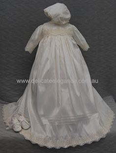 4230B (Ivory Lace): Christening Silk Gown