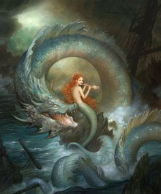 Mermaid and Dragon. A Beautiful Fantasy! Mermaid Drawings, Mermaid Art, Siren Mermaid, Mermaid Paintings, Vintage Mermaid, Mermaid Pics, Tattoo Mermaid, Fantasy Creatures, Mythical Creatures