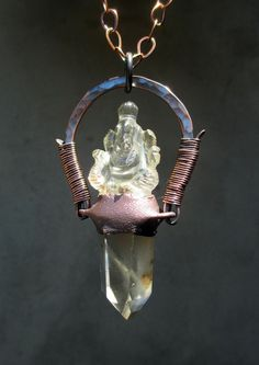 Tribal Amulet with Phantom Quartz Wand and by SilviasCreations, $174.00