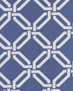 """Joy, Daiquiri""  54"" wide 100% Cotton  An elegant, geometric print in navy-denim blue and white by Braemore.  Pattern is multi directional and is 4.5"" x 4.5"".  Made of 100% cotton, plain weave, upholstery weight fabric, weighs 7 oz or 200 grams per yard and has a soil and stain resistant finish."