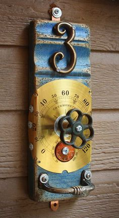 Items similar to Coat Rack Garden Faucet Handle Thermometer Face, Hook, Number 3 Repurposed Upcycled Recycled Baseboard Distressed No. 12 on Etsy. , via Etsy. Found Object Art, Found Art, Wood Projects, Craft Projects, Projects To Try, Faucet Handles, Reuse Recycle, Assemblage Art, Recycled Art