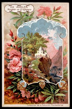 Pautauberge Lung Solution ~ Flowers c1900 ~ a mixture of French & Spanish backs. Adelfa (Oleander)