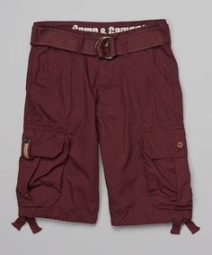 Another great find on #zulily! Deep Red Cargo Shorts & Belt - Boys by Camp & Campus #zulilyfinds