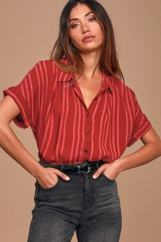 The styling possibilities are endless with the Lulus Everlee Wine Red Striped Button-Up Top! Sheer striped top with collared neckline and button front. Patterned Button Up Shirts, Button Up Shirt Womens, Red Button Down Shirt, Button Shirts, Short Sleeve Button Up, Collared Shirt Outfits, Grunge Outfits, Collar Shirts, Aesthetic Clothes