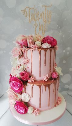 2 tier cake with rose gold drip, roses, macaron's and meringue kisses 16th Birthday Cake For Girls, Birthday Cake For Women Simple, 2 Tier Birthday Cakes, Birthday Cake Roses, Sweet 16 Birthday Cake, Elegant Birthday Cakes, Beautiful Birthday Cakes, 21st Birthday, Women Birthday