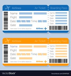 Flat desipn blue and orange airticket and boarding pass vector template. Passport Template, Ticket Template Free, Travel Itinerary Template, Boarding Pass Template, Barbie Dolls Diy, Design Home App, Simple Doodles, Travel Themes, Paper Toys