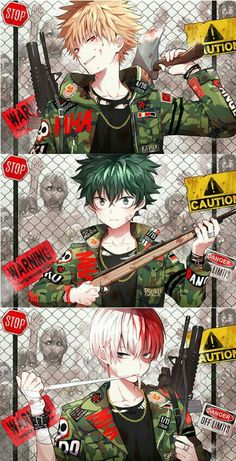 Katsuki, Izuku, Shouto, zombies, guns, uniforms, outfits, cool, text; My Hero Academia