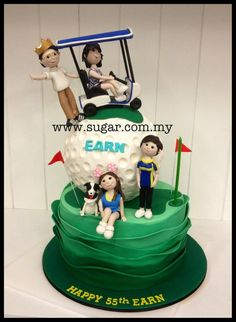 Golf Themed Birthday Cake - Cake by weennee Golf Birthday Cakes, Sports Themed Cakes, Golf Cakes, Fondant Cakes, Cupcake Cakes, Cupcakes, Baileys Cake, Dinner Party Table, Sport Cakes