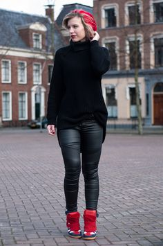 RED REIDING HOOD: Faux leather pants fashion blogger wearing all black everything outfit streetstyle Isabel Marant beckett wedge sneakers designer shoes trainers model off duty look oversized knitted turtleneck hope grand sweater knitwear red boyfriend beanie