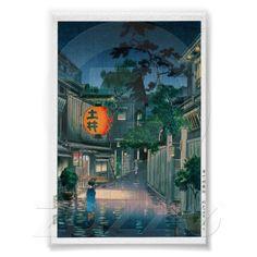 Cool oriental japanese Kasamatsu night street rain Poster $8.40