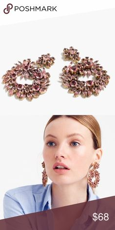 "sale | j crew • crystal wreath earrings NWT • retail • crystal-encrusted earrings make the best statement • brass, glass and epoxy stones • light gold ox plating • steel posts • length: 2 1/2"" • retail: $88 • no trades J. Crew Jewelry Earrings"