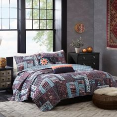 I LOVE THIS!!! | Josie by Natori Woodblock Patchwork Reversible Quilt Set in Purple - BedBathandBeyond.com