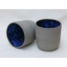 Handmade ceramic cup in grey and cobalt blue from Mocha
