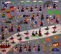 Hmong Embroidery | This tapestry portrays the Secret War in Laos, during the Vietnam War area.