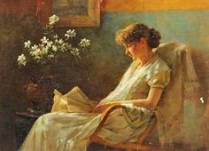 Reading. Charles Courtney Curran (1861 – 1942). American painter.