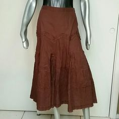 Check out details on this Cotton Skirt Brand Multplies  Size 10 100 % Cotton  NWOT never worn Beautiful detailed stitching patterns on this Brown Skirt, half slip lining,, side zipper So versitile from hippie, boho, tropical, Indie style to mix and match. Bundles available with discounts, Shipping Daily multiples  Skirts A-Line or Full