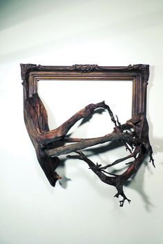 Boone - Antique Wood & Gesso Frame with Grafted Pine Roots