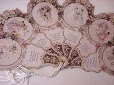 victorian fans | Victorian Paper Wedding Program or Keepsake Folding Fan Card