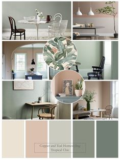 """This mood board was inspired by the stunning """"Tropical Chic"""" pattern by Wallpaper Murals. I've chosen a Farrow and Ball colour palette of soft greens and their most popular pink. Bedroom Colour Palette, Bedroom Colors, Room Decor Bedroom, Living Room Decor, Paint Colors For Home, House Colors, Home Room Design, House Design, Colorful Kitchen Decor"""