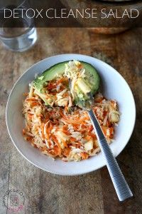 Detox Cleanse Salad (Vegan) || 2 medium carrots, peeled 175g / 6oz (about 1½ cup) celeriac, peeled and roughly sliced into sticks 250g / 9oz (about 2 heaping cups) cabbage, roughly chopped 1 apple (I use Honey Crisps or Pink Ladies), cored, peeled and cut bite size 1 avocado 1 tbsp shaved almonds (optional) 2 tbsp pumpkin seeds 2 tbsp sunflower seeds juice of 1 lemon 1 tbsp extra virgin olive oil 1 tbsp maple syrup (or honey) salt and pepper to taste