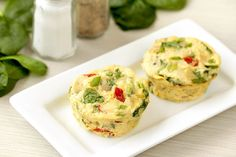 Healthy Everything Veggie Egg Bakes - egg whites/fat-free liquid egg substitute, fat-free plain Greek yogurt, garlic powder, onion powder, salt, black pepper, canned artichoke hearts packed in water, chopped spinach, shredded part-skim mozzarella cheese, bagged sun-dried tomatoes, scallions