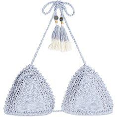 She Made Me Crochet Triangle Bikini Top ($125) ❤ liked on Polyvore featuring swimwear, bikinis, bikini tops, blue, triangle bikinis, triangle swimwear, blue triangle bikini, crochet swim top and blue bikini top
