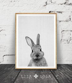 Rabbit Bunny Print, Woodlands Decor, Nursery Rabbit Wall Art, Black and White Animal Print, Printable Art, Black and White Nursery Woodlands par LILAxLOLA sur Etsy