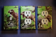 Jurassic World Dinosaur 3 pc Set Light Switch Cover boys kids room child decor