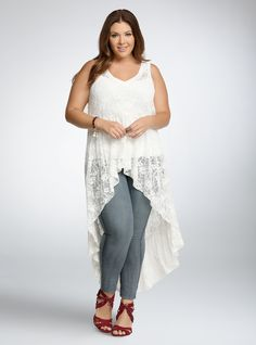 Lace Extreme Hi-Lo Tank Top From the Plus Size Fashion Community at www.VintageandCurvy.com