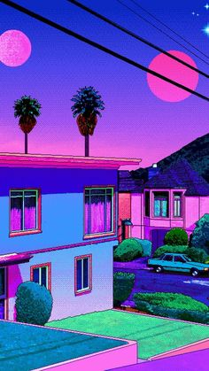 Colourful painting of a quaint town. Purple Aesthetic, Retro Aesthetic, Aesthetic Anime, Aesthetic Backgrounds, Aesthetic Iphone Wallpaper, Aesthetic Wallpapers, Vaporwave Wallpaper, Trippy Wallpaper, Cool Wallpaper