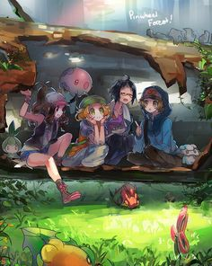 Pokemon Black and White | Hilda (Touko) | Bianca | Cheren | Touya | By Namie - namface.tumblr.com Pinwheel Forest :3