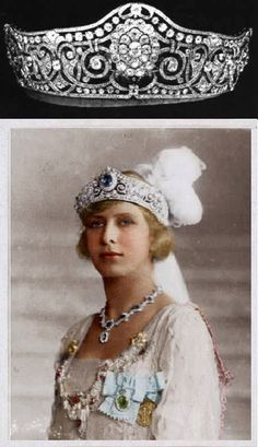 Princess Mary of England, Princess Royal and Countess of Harewood. The centerpiece of this tiara could be replaced with a large sapphire. (Hand painted photo by Alenka) solo tiara pin in Tiaras II.
