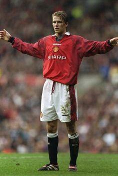 David Beckham of Man Utd in 1997.