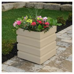 Freeport 18 Inch Square Patio Planter in Clay