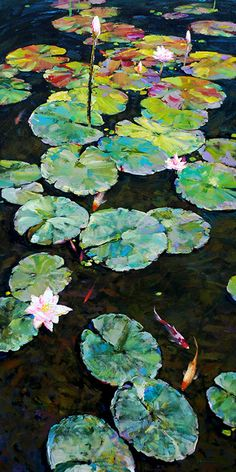 65 Ideas Flowers Painting Oil Water Lilies For 2019 Water Lilies Painting, Lotus Painting, Lily Painting, Painting Flowers, Les Nénuphars Monet, Nature Paintings, Watercolor Paintings, Landscape Art, Landscape Paintings