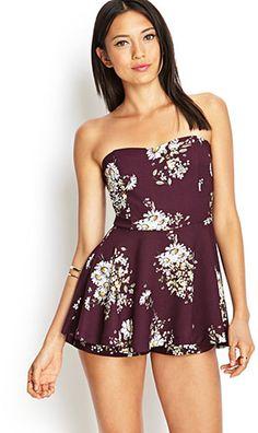 Forever 21 ストラップレスフローラルスコートワンピース / Strapless Floral Dress on ShopStyle