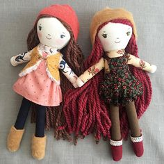 ❤️ Astrid and Annika ❤️  Cloth dolls made from the Elsa doll sewing pattern at Wee Wonderfuls