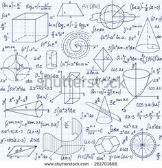 """Mathematical vector seamless pattern with geometrical figures, plots and equations, """"handwritten on the grid copybook paper"""". Endless math texture"""
