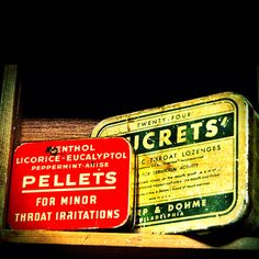 For sore throats. Miniature tins.