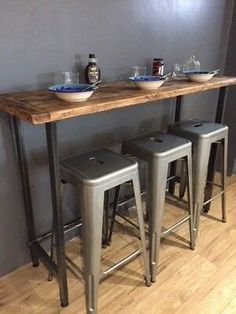 Overall, the legs and connecting bar weigh just under and of superior quality. Due to the adjustable feet and unlike other breakfast bars you may buy, the table can be altered to suit any floor or uneven surface, which prevents rocking. Kitchen Bar Counter, Diy Kitchen, Kitchen Design, Kitchen Decor, Counter Design, Kitchen Interior, Small Breakfast Bar, Breakfast Bar Table, Breakfast Bars