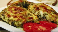 This delicious Pesto Chicken Bake recipe is not only low carb but makes the perfect busy weeknight dinner. A family favorite that has only a few ingredie Low Carb Dinner Recipes, Diet Recipes, Cooking Recipes, Healthy Recipes, Baked Pesto Chicken, Baked Chicken Recipes, Wood Stove Cooking, Good Food, Yummy Food